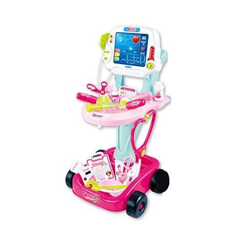 Arztkoffer Spielzeug Arztwagen Kinder Doktor Trolley Elektrisch Schiebbar Viel Zubehör Rollenspiele,Pink