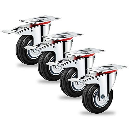 Forever Speed Lote de 4 Ruedas Pivotantes Ø 75mm Ruedas Giratorias de Transporte Negro para Carritos Muebles Con 4 Freno & 4 placa de montaje Soportan 50 kg por Rollo
