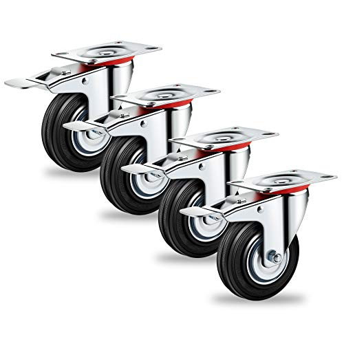 Forever Speed Transportrollen Schwerlastrollen 4 x 75mm Lenkrollen mit Bremse Tragfähigkeit 150kg/SATZ(75mm-4 x mit Totalfeststeller)