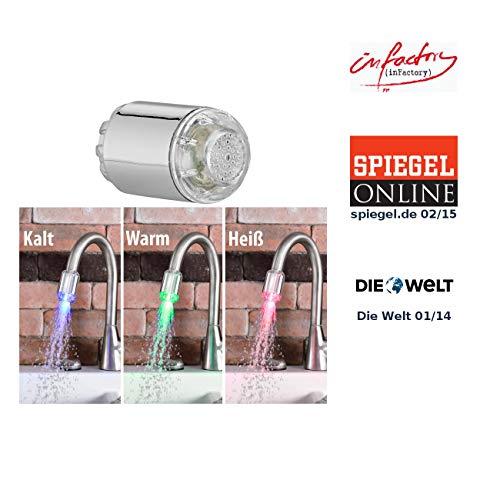 infactory Wasserhahn Aufsätze: Dynamo-LED-Wasserhahnaufsatz zur Temperaturkontrolle, leuchtet farbig (LED Wasserhahn)