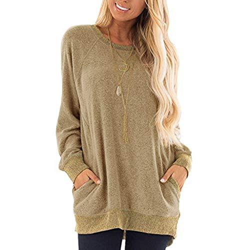 Dasongff dames sweatshirt losse casual tuniektops effen patchwork shirt lange mouwen sport pullover hoodie longshirt outwear sweater pulli shirts hemd blouse X-Large kaki