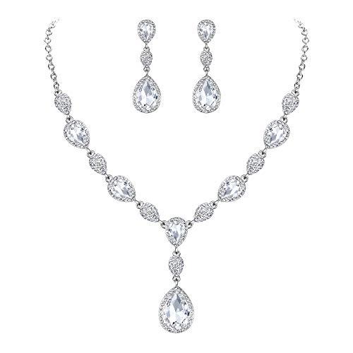 Clearine Juegos de Joyas de Mujer Cristales Forma Agua Gota Lágrimas Collar y Pendientes para Novia Boda Fiesta Elegante Plateado