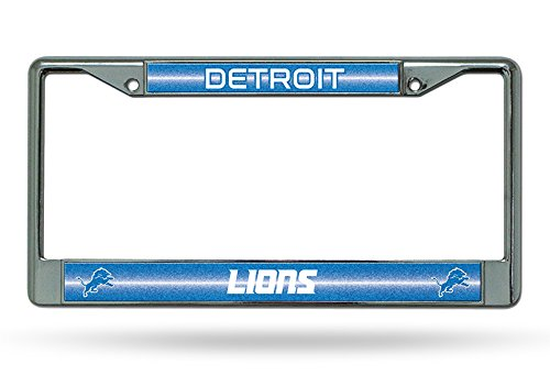 Price comparison product image NFL Detroit Lions Bling Chrome License Plate Frame with Glitter Accent