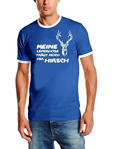 Meine Lederhose trägt noch der Hirsch ! T-Shirt blau_HERI Ringer Gr.XL