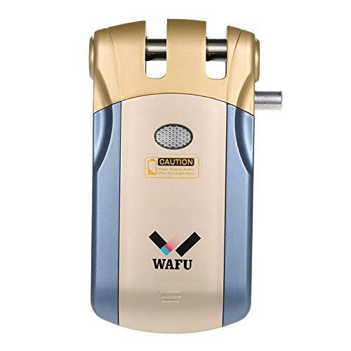 WAFU WF-018 Cerradura Inalámbrica Inteligente Cerradura Control Remoto Cerradura Invisible con 4 Control Remotos, Azul + Oro