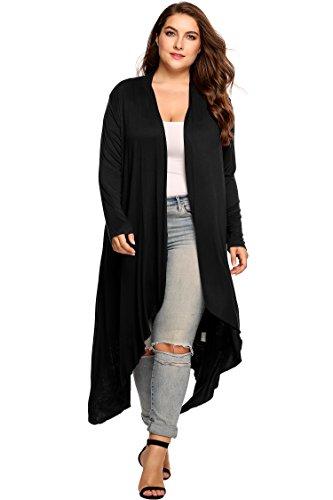 Zeagoo Women's Plus Size Long Sleeve Waterfall Asymmetric Drape Open Front Long Maxi Cardigan Sweater Black XXXX-Large