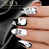 EDA LUXURY BEAUTY WHITE CUSTOM LUXE DESIGN Full Cover Press On Nails Acrylic Nail Kit Artificial Nail Tips False Nails Extra Long Oval Round Pointed Almond Stiletto Nail Art Fashion Fake Nails