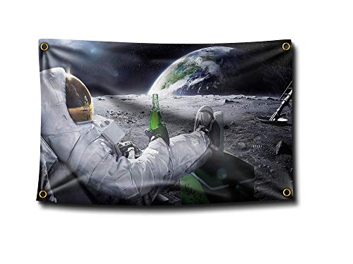 Banger - Astronaut Relaxing and Drinking a Carlsberg Beer on The Moon in Outer Space Flag Banner 3x5 Feet College