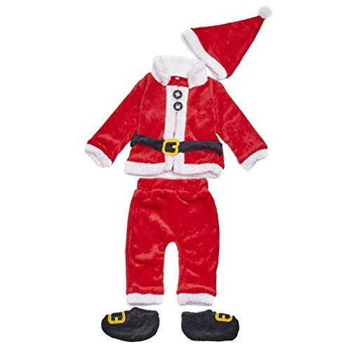 VALICLUD Neonato Ragazze Ragazzi Vestito Natalizio Inverno Maniche Lunghe Modellismo Babbo Natale Vestire con Cappello E Scarpa 4 Pezzi