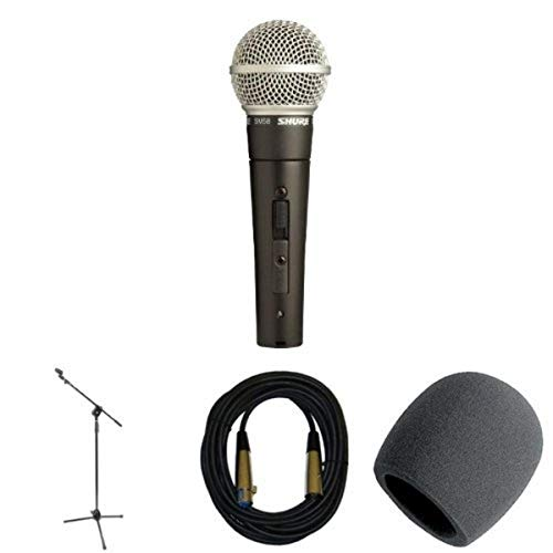 Shure SM58S Microphone Bundle with Stand, Cable, and Windscreen
