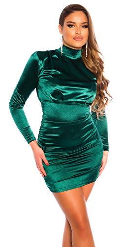 Koucla Damen Kleid Minikleid Party Satin Look Stehkragen gerafft (Grün, s)