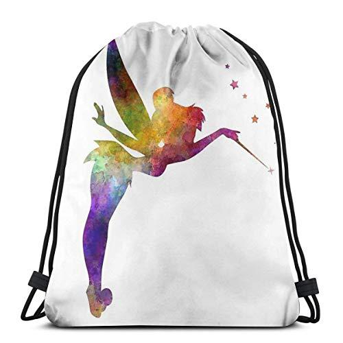 Tinkerbell In Watercolor Waterproof Foldable Sport Sackpack Gym Bag Sack Drawstring Backpack