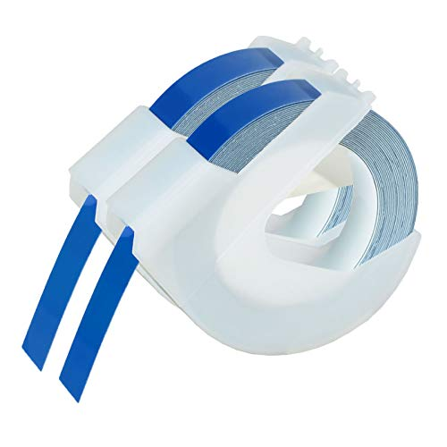 """KCMYTONER 2 roll Pack Replace 3D Plastic Embossing Labels Tape for Embossing White on Blue 3/8"""" x 9.8' 9mm x 3m 520106 Compatible for Dymo Executive III Embosser 1011 1550 1570 1610 Label Markers"""