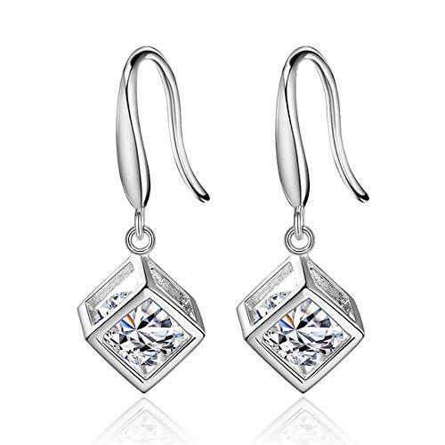 Rubik's cube earrings love window wild tassel earrings female square ear hooks Korean copper plated platinum ear jewelry