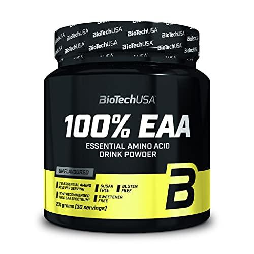 BioTechUSA 100% EAA, Suplemento dietético en forma de bebida en polvo que contiene aminoácidos esenciales pero no contiene edulcorantes, aromas ni colorantes, 231 g