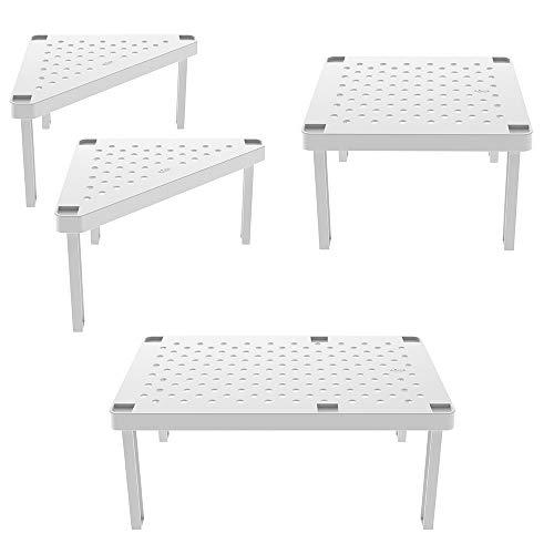 Ou Premium Design Gabinete de cocina apilable y organizador de despensa de Level Collection, estante modular, juego de 4 (Blanco)