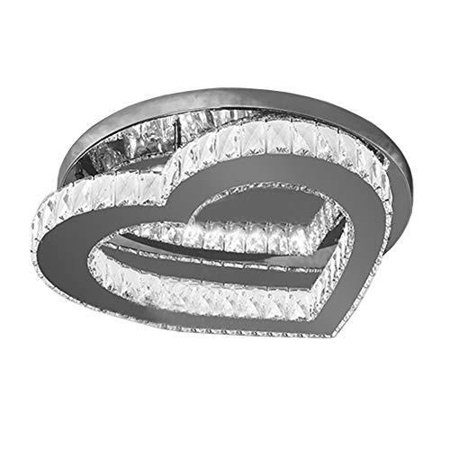 CUTANZI Plafondlamp LED Kristal Plafondlampen Dimbaar Hart Gevormde Kristallen Plafond Lamp Warm Romantische Woonkamer Slaapkamer Decoratieve Plafond Verlichting, 25 cmwitte lamp