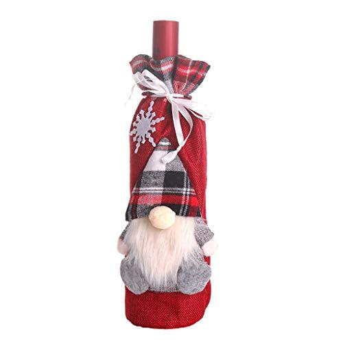 WYLJD Decoración Navideña Decoración de Fiesta Bolsa de Botella de champán Estéreo de Navidad Viejo Papá Noel Copo de Nieve Conjunto de Botella de Lino