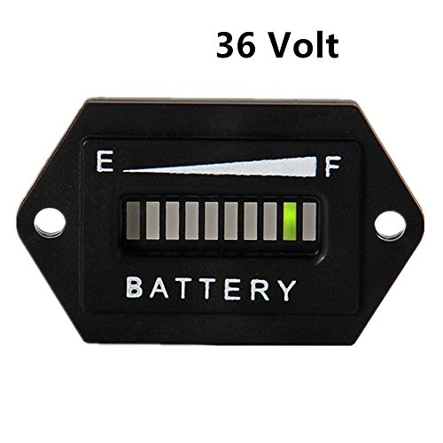 Aimila 36V LED Battery Charge Discharge Status Indicator Meter Gauge Testers for Lead-Acid Battery Golf Cart Club Car Hex
