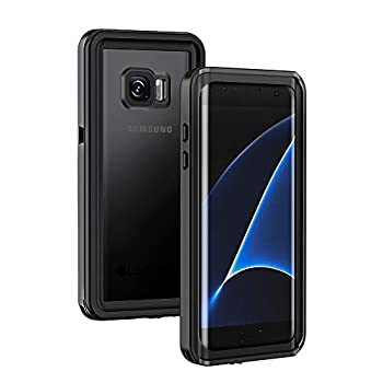 Lanhiem Samsung Galaxy S7 Edge Case IP68 Waterproof Dustproof Shockproof Case with Built-in Screen Protector Full Body Sealed Underwater Protective Clear Cover for Samsung S7 Edge  Black