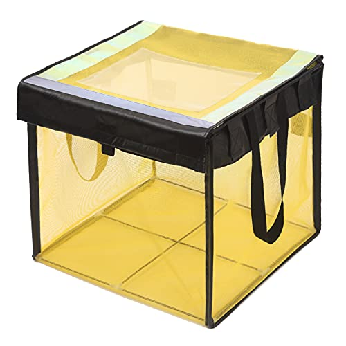 ごみストッカー/家庭用/噂のカラスよけ/戸別回収/戸別収集/カラス ゴミ ボックス (45L ゴミ袋 約1.5-2 個用 約50x50x50cm) ゴミ袋の上からサッとかぶせるだけ 約2.5mmの細かい網目 周囲にくくり付けできるヒモ・便利な持ち手 ネームポケット付 (125L)