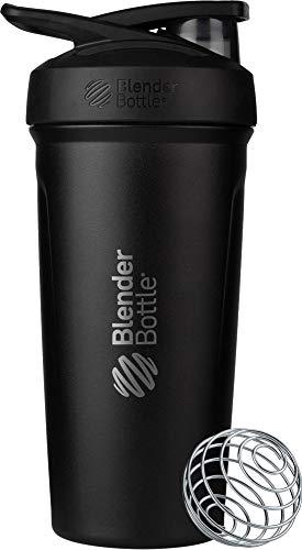 BlenderBottle Strada Shaker Cup Geïsoleerde roestvrij stalen waterfles met draad garde, 24 oz, zwart