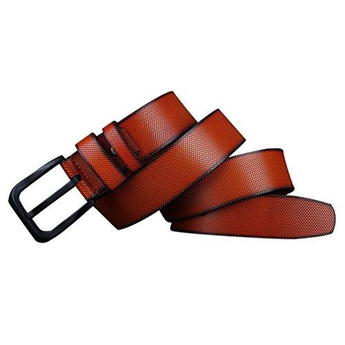 YuanDian Cinturón para Hombres relieve retro Hebilla Cuadrada de Aleación de Alta Densidad Cinturón Hecho a Mano Adecuado Para Traje/Jeans/Cinturón Casual Naranja
