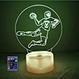3D Balonmano Ilusión Optica Luz Nocturna 7/16 Colores Control Remoto USB Power Juguetes Decoración Navidad Cumpleaños Regalo