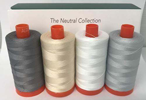 Aurifil Neutral Collection Set mit 4 x Aurifil 50 1300m Rolle in einer schönen Barnyarns Geschenkbox inkl. Farben 2600-2000 - 2024-2605