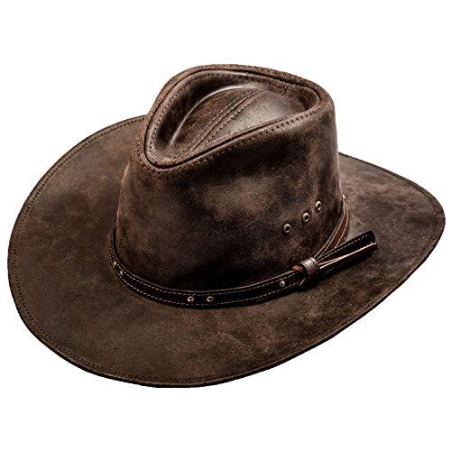Sterkowski Chapeau Ranger en cuir de vachette - Marron - Small