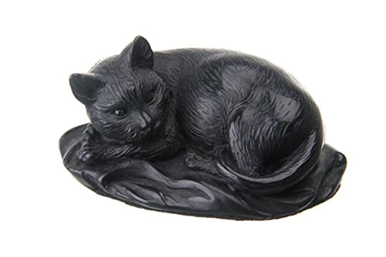 danila-souvenirs Decorative Stone Statue Figurine Sculpture Lying Black Cat 3.9''