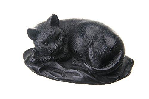 Statuette décorative en pierre - Chat noir allongé - 10 cm