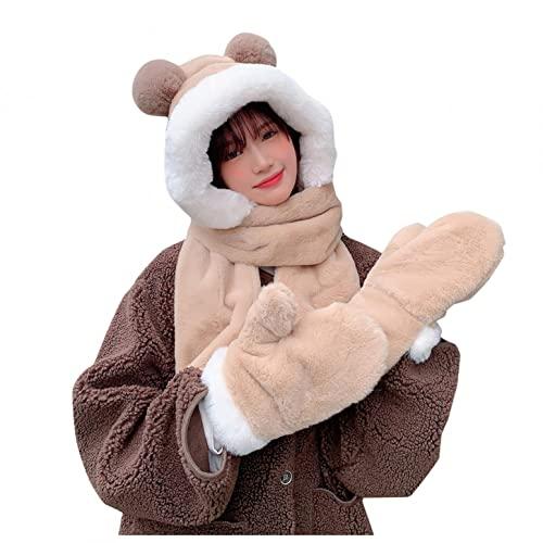 YTZL Bufanda de algodón para mujer, de invierno, para niños, niñas, guantes, bufanda, con forro polar, bufanda con capucha, mullida, de punto, para otoño e invierno, caqui, Talla única