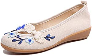 Women's Vintage Slip On Flat Shoes Flowers Comfortable Low Top Casual Outdoor Round Toe Driving Shoes
