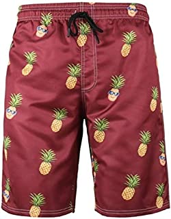 BEESCLOVER Pineapple 6XL Plus Size Swimwear Men Swim Shorts Swimming Men Swimsuit Men Bathing Suit Sport Wear Beach Shorts Quick Dry 317 Red 706 L