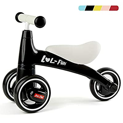 LOL-FUN Baby Balance Bike for 1 Year Old Boy and Girl Gifts, Toddler Bike for One Year Old First Birthday Gifts - Black