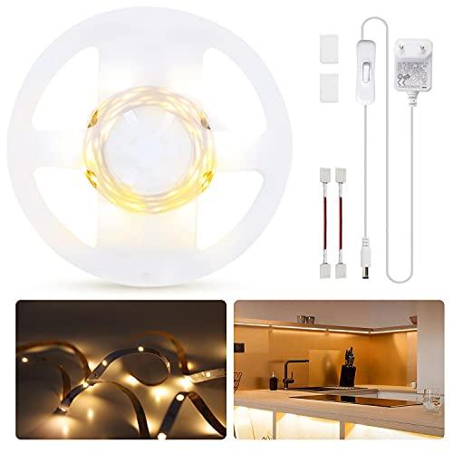 Aigostar - Tira LED de 3m, Tira de Luz Blanco Cálido 3000K con Funcionamiento con un solo botón, Habitacion Tira de LED autoadhesiva DIY para El Interior del Hogar, TV, Escaleras, Decoración de Cocina