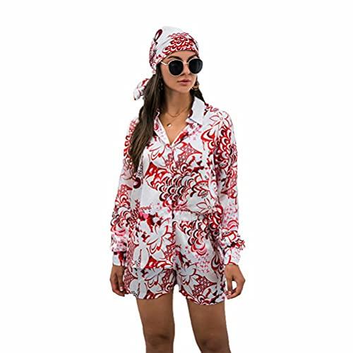 LYAZFC Primavera y Camisa Multicolor Impreso Retro Conjuntos Pantalones Cortos Turbante Tres Mujeres del otoño