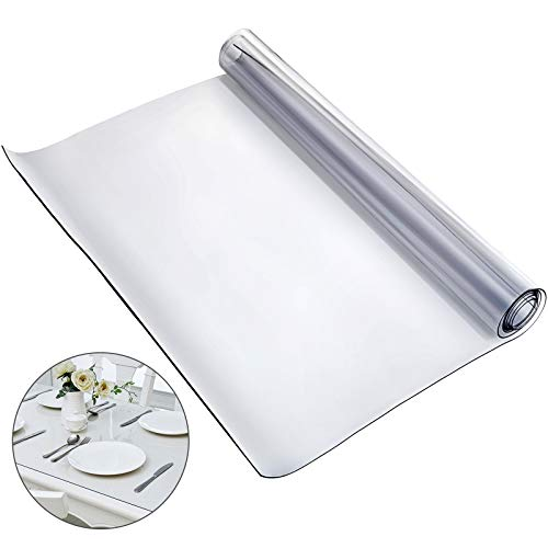 Mophorn 72 x 46 Inch Crystal Clear Table Protector Clear PVC Table Top Protector 1.5mm Thick Table Cover Rectangular Table Pads for Dining Room