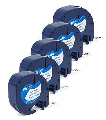 Label Orison Label Tape Replacment for DYMO Letratag Refills 91331 S0721610 Plastic Black on White for Dymo LT Plus LT-100H LT-100T QX50 Label Maker,1/2Inch X 13Feet(12mmx4m),5Pack