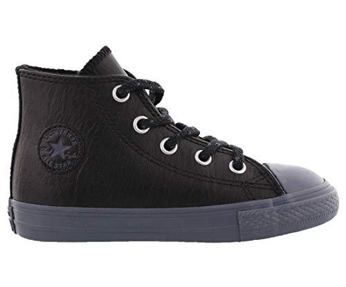 Converse Kids Chuck Taylor All Star Leather Thermal - Hi Infant/Toddler Black/Black/Sharkskin Boys Shoes, 9 Little Kid