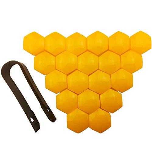 20 Stück Auto Radmutterkappen Schutz Universal Reifen Nabe Schraube Schraube Mutter 17 mm Kappe Abdeckungen mit Werkzeug zum Entfernen (Innendurchmesser 17 mm – gelb)