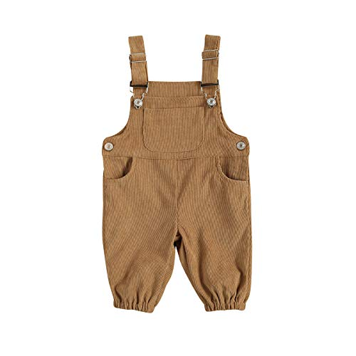 LUCSUN Pantalones de tirantes de pana, color sólido, con botones, correas de hombro y bolsillo