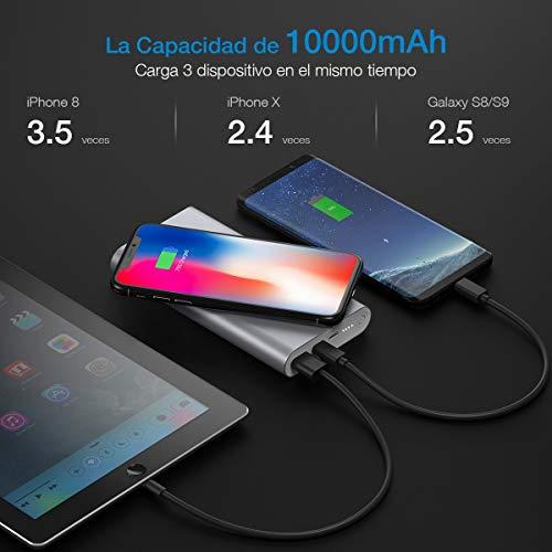 POWERADD Cargador Inalámbrico Power Bank 10000mAh Batería Externa Dos Maneras de Entrada para iPhoneX iPhone8 iPhone XS iPhone XS MAX iPhone XR Samsung Galaxy S8/Note 8