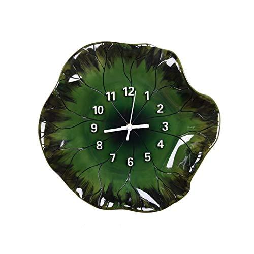 Hclshops Escultura Reloj de Pared Decoración Decoración Chino Creativo Salón Dormitorio Atmósfera Simple Silencio Colgante de Pared Rendimiento Trazo Loto Lotus Reloj estéreo (Color : A)