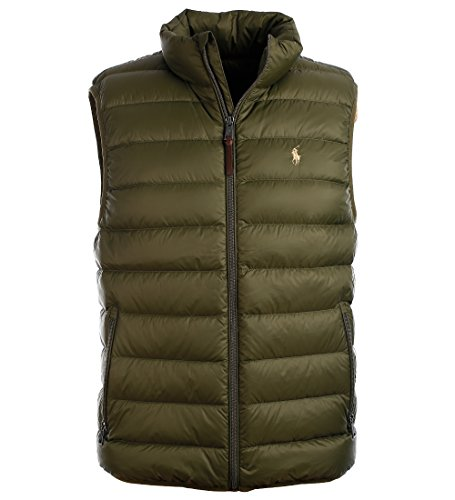 Ralph Lauren Polo Mens Water-Repellent Down Vest, Company Olive, M