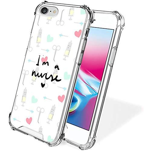 UZEUZA Custodia per iPhone 7/8/SE2 Trasparente Bumper Cover Anti-graffio Bordi Chiari con I Am A Nurse