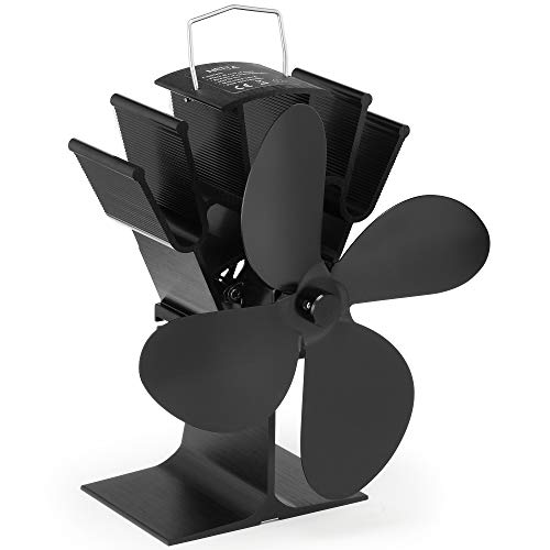 NETTA Stromloser Ventilator für Kamin Holzöfen Öfen - Geräuscharmer Betrieb 4 Rotorblätter Kamin - Ventilator Ofenventilator Feuerstelle Kaminöfen