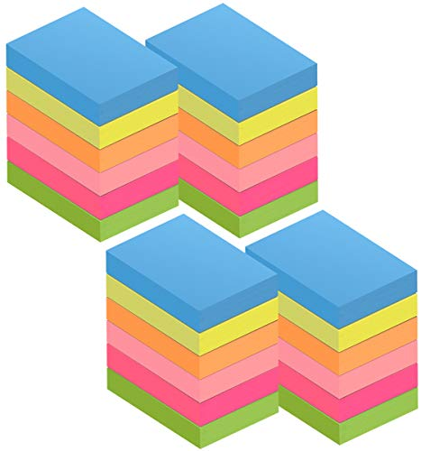 ZCZN Mini Sticky Notes, 1-1/2 x 2 Inches, 6 Neon Color Self-Stick Memo Note Pads, 100 Sheets/Pad, 24 Pads/Pack, Small Size