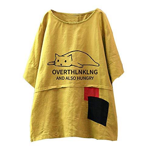 OIKAY Hippie Oberteil Damen Stehkragen Long Sleeve beiläufige lose Tunika Tops T Shirt Bluse Engelbert Strauss Jogginganzug Damen
